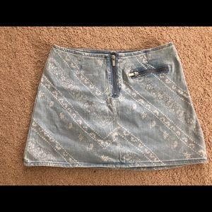 URBAN OUTFITTERS paisley jean skirt-RUNS BIG